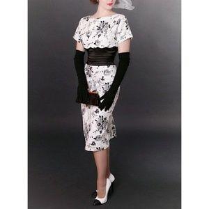 Tatyana Bettie Page Black & White Pencil Dress XXS